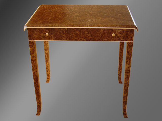 Burr brown oak side table with boxwood inlay.
