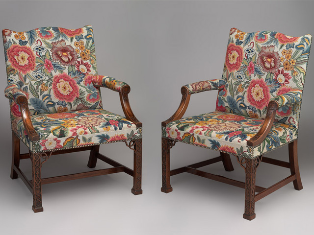 Pair Of Gainsborough Chairs Upholstered In Tapestry Of Clientu0026rsquo ...