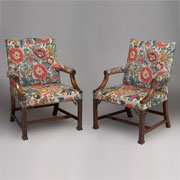 Pair of Gainsborough chairs upholstered in tapestry of client's making