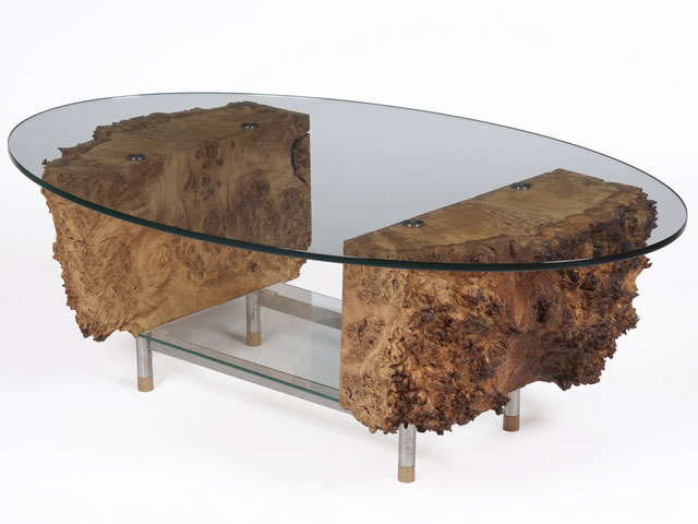 Great Burr Oak And Stainless Steel Coffee Table ...