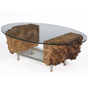 Bespoke coffee table with cut glass and burr oak