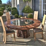 Bespoke table with glass and oak