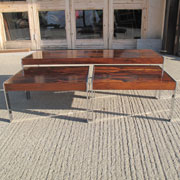 Restoration of nest of chromed steel and rosewood tables
