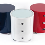 Hawkins furniture handmade bedside tables circular bedside cabinets in coloured lacquer watchthetrailerfo